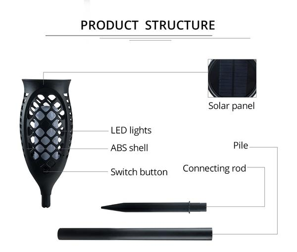 Waterproof Solar Powered LED Flame Light