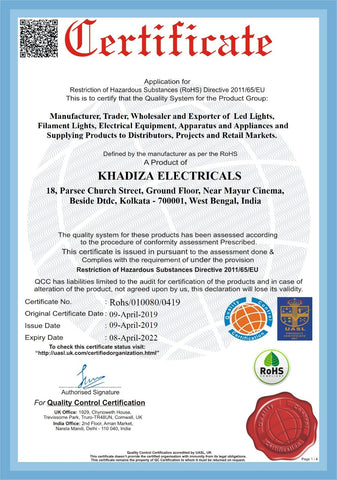 Khadiza Electricals Quality Control Certification