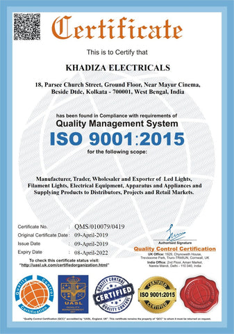 Khadiza Electricals ISO Certification