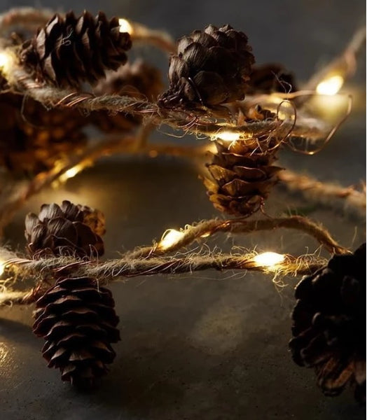 Twine&Cones Copper LED string Garland lights for Christmas Holiday Tree and Home Decoration
