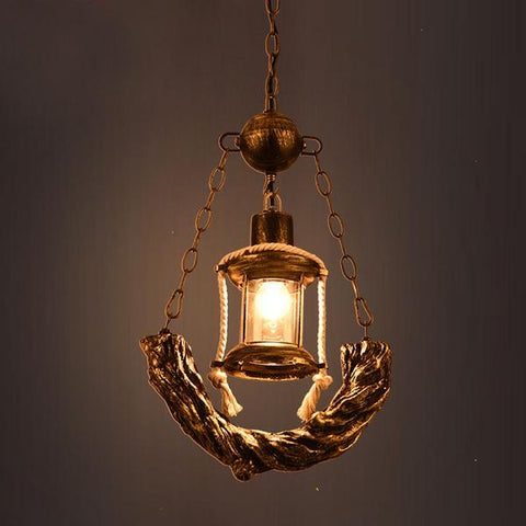 Vintage Pendant Kerosene Lamp made of Bronze & Resin(Bulb Excluded)