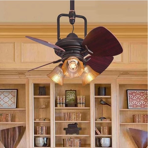 Vintage Wooden Mini Ceiling Fan With Decorative Lights