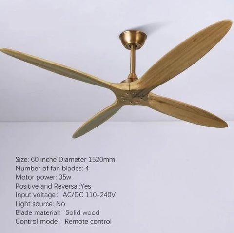 Wooden Ceiling Fan with Remote Control