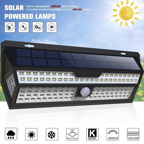 Waterproof Super Bright Solar Outdoor Lamp With Motion Senor (132 LED)