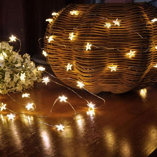Star Plastic String Light (10 LED, Energy Saving)-Decorative String Light-Yellow-Khadiza Electricals