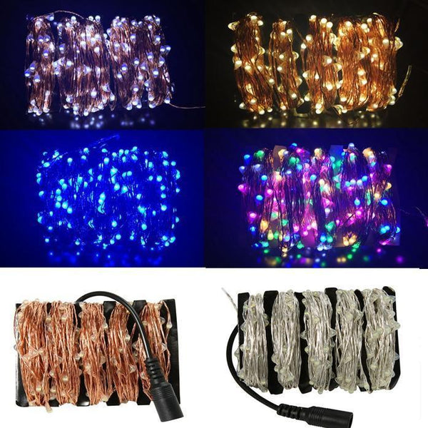 LED String Lights with Power Adapter Silver Wire White / 10M 100LED