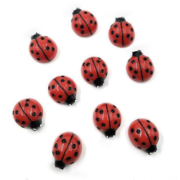 Resin Craft Fridge Magnets(10pcs)-Non Electric Home Decor-10pcs Red Ladybugs-Khadiza Electricals
