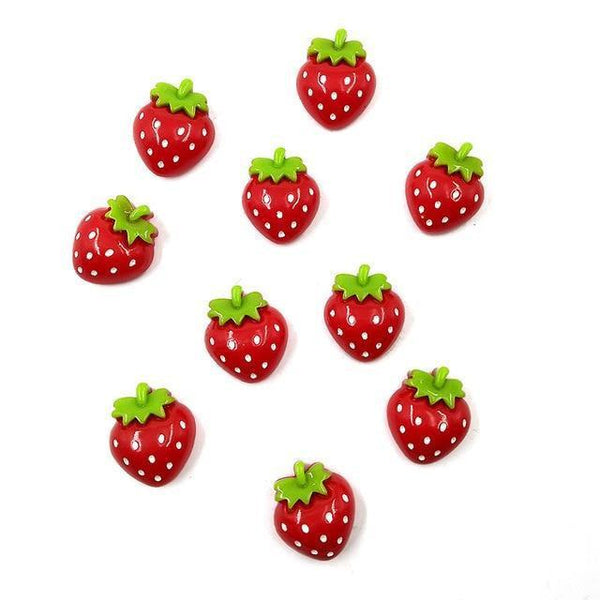 Resin Craft Fridge Magnets(10pcs)-Non Electric Home Decor-10pcs Strawberry-Khadiza Electricals