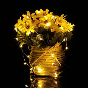 LED String Fairy Lights (2M 20 Leds, Battery Operated)-Decorative String Light-WARM WHITE-Khadiza Electricals