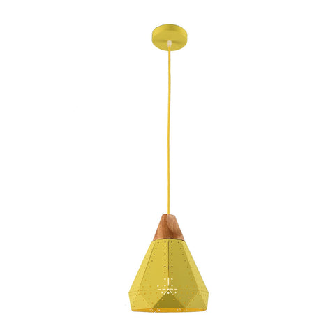 1006A Yellow Wooden Iron Pendant Light
