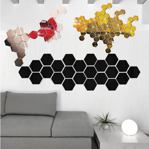 Mirror Hexagon Wall Sticker for  Home Decor(12Pcs) Black / China