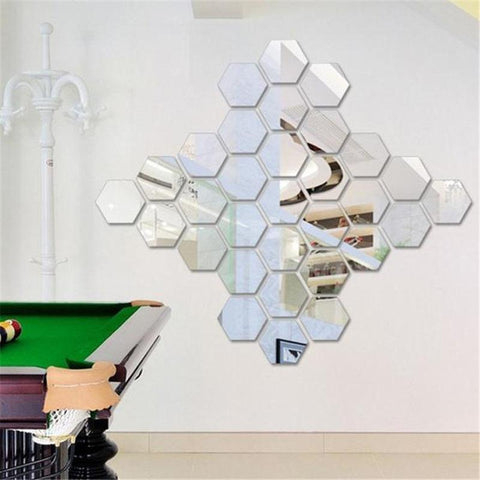 Mirror Hexagon Wall Sticker for  Home Decor(12Pcs)-Non Electric Home Decor-[variant_title]-Khadiza Electricals