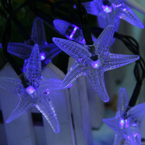 Starfish Shaped Solar LED Decorative String Light for Christmas Decoration-Decorative Solar String Light-BLUE-Khadiza Electricals