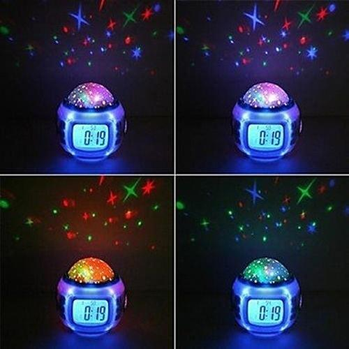 Coloful Starry Sky Room LED Projector  Night Lamp With Music/ Date Time/ Alarm Clock