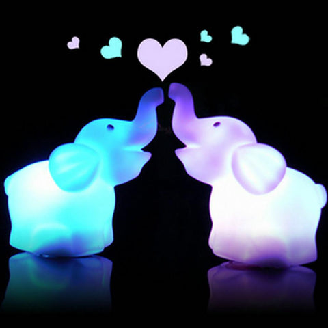 Cute Elephant Shaped LED 7 Color Changing Night Lamp