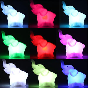 Cute Elephant Shaped LED 7 Color Changing Night Lamp White