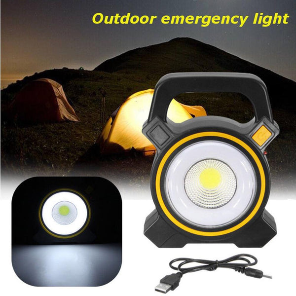 Solar Powered Portable Rechargeable COB Lamp (30W, USB Charge)