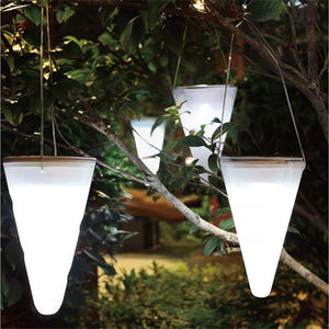 Conical Shape Solar LED Night Lamp with Sensor