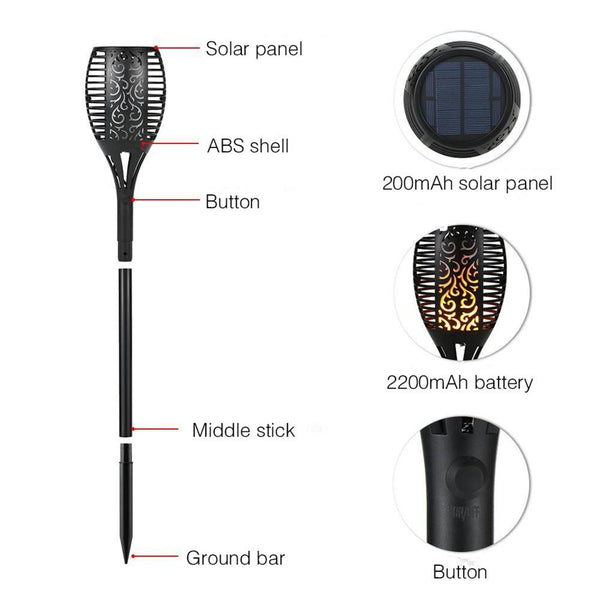 96LED Waterproof Solar Power Flickering Outdoor Lamp