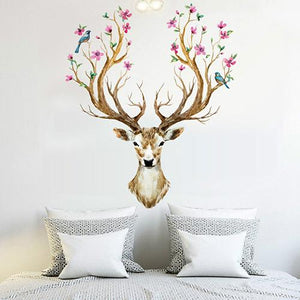 Sika Deer Flower Bird Tree Removable Wall Sticker For Home Decor