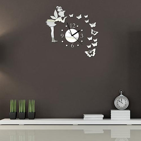 Fairy Butterfly Mirror Wall Clock Wall Sticker For Home Decoration as the picture ai