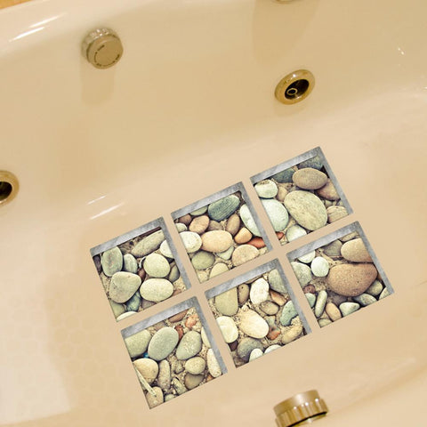 Anti Slip Waterproof PVC 3D Cobblestone Pattern Bathroom Floor/ Bathtub Sticker
