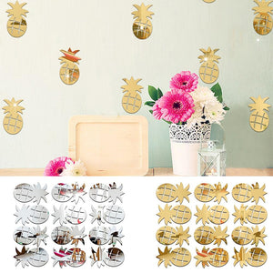 12Pcs/Set Cute Pineapple Mirror Acrylic Wall Stickers Decal For Room Decor