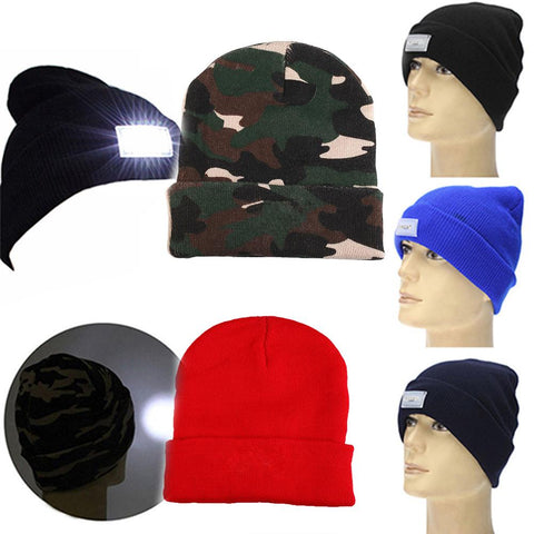 LED Lighted Cap Winter Warm Beanie For Angling/ Hunting/ Camping/ Running