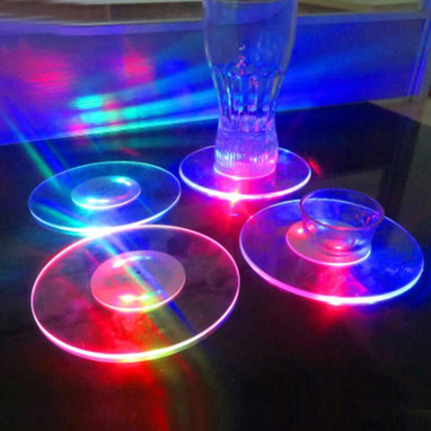 Round/Square Colorful LED Flash Light Cup Mat Coasters For Decor