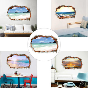 3D Effect Break Through Wall Sticker Sea Ocean Beach For Living Room Decor