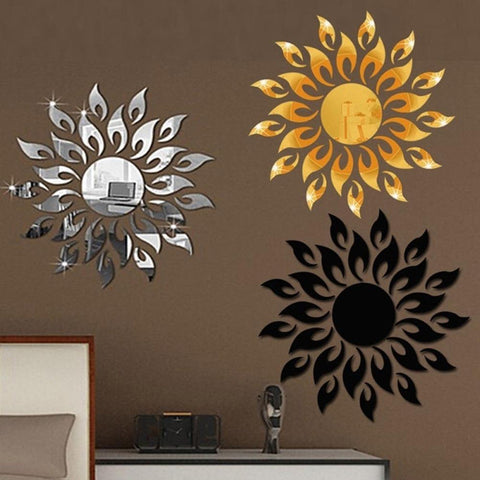 3D Sun Flower Mirror Effect Wall Sticker For Home Decor