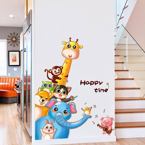 Cartoon Cat Giraffe Elephant Rabbit Pig Wall Sticker For Kids Room Decor as the picture ai