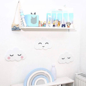 Nordic Lovely Wooden Cloud & Moon Wall Sticker For Kids Room Decoration