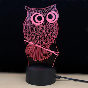 3D LED Owl Night Light with touch 7 Color Change-Night Lamp-COLORFUL-Khadiza Electricals