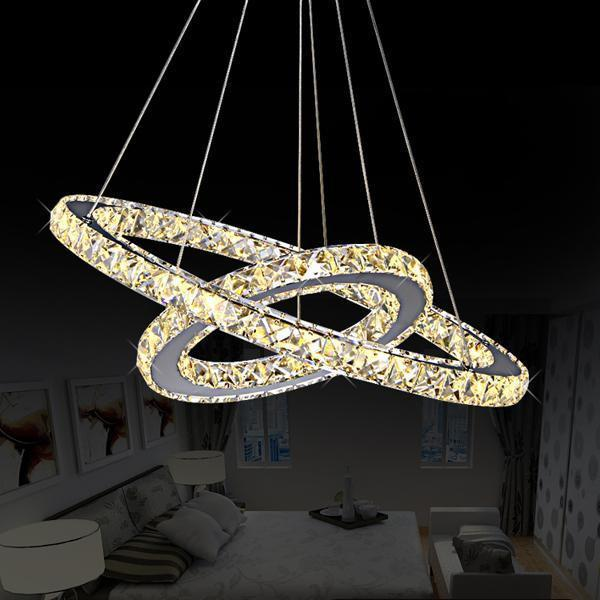Crystal Circle Chandelier-Decorative Chandelier-2 Rings D50 D30cm / China / warm white light-Khadiza Electricals