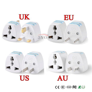 Universal Plug Converters to UK/US/EU/AU (No Voltage Conversion)