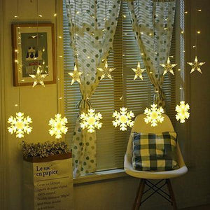 Star and snowflake Curtain Light-Decorative String Light-Warm White-Khadiza Electricals