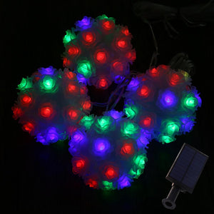 Solar Powered LED Rose Flower RGB Fairy String Light