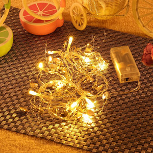 Battery Powered Golden Heart String Light( 10 LEDs)-Decorative String Light-WARM WHITE LIGHT-Khadiza Electricals