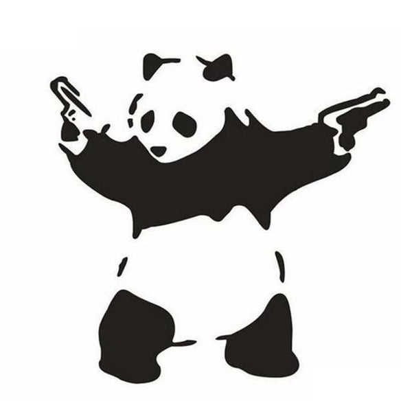 Panda in Action Car/Wall Sticker-Non Electric Home Decor-BK-Khadiza Electricals