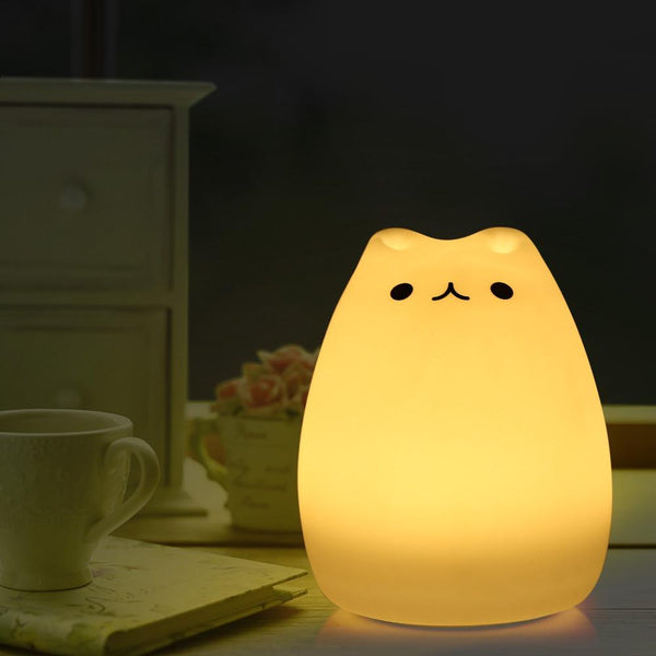 Color Changing Silicone Cat Night Light-Night Lamp-WHITE-Khadiza Electricals