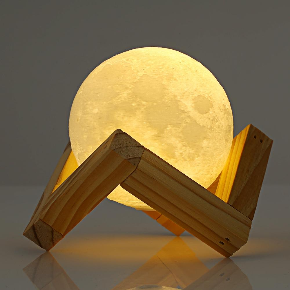 3D Print Moon Rechargeable Lamp with Touch Switch-Night Lamp-WHITE / 7.8CM-Khadiza Electricals