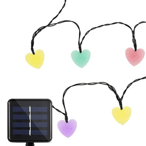 Waterproof Solar Powered Love Heart String Lights (20 LEDs)-Decorative Solar String Light-RGB-Khadiza Electricals