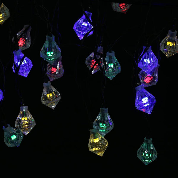 SS - 22 Solar Powered Waterproof 20 LEDs Diamond String Lamp