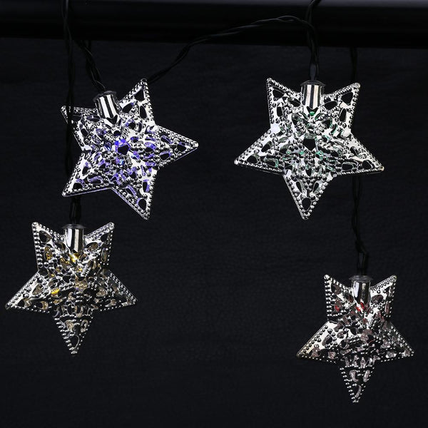 SS - 31 Solar Powered Waterproof 20 LEDs Iron Star String Lamp