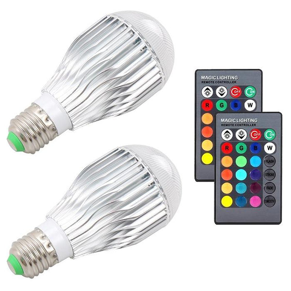 RGB Color Changing LED Bulbs with Remote Control (2pcs 10W E27)