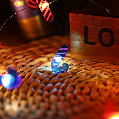 Walking Stick Shaped Cooper Wire String Light (2M 20 LEDs)-Decorative String Light-BLUE AND RED-Khadiza Electricals