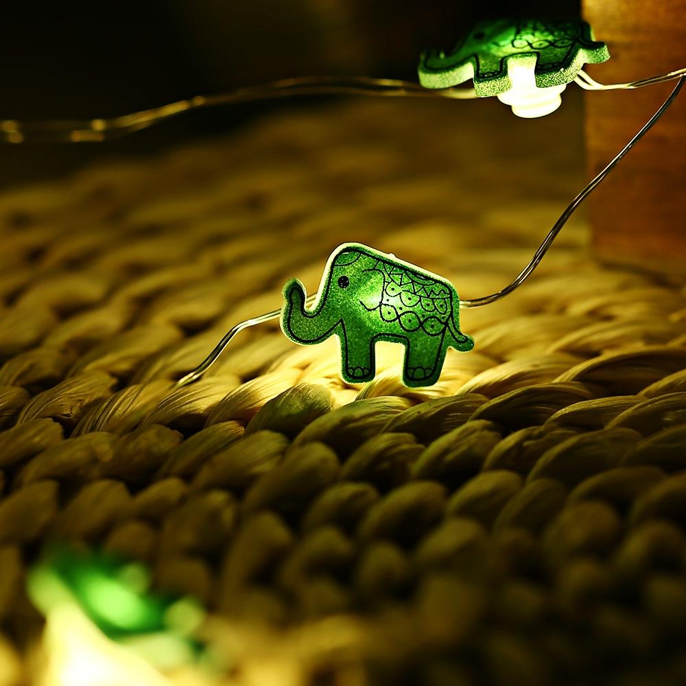 Elephant Shaped Cooper Wire String Light ( 2M 20 LEDs )-Decorative String Light-GREEN-Khadiza Electricals