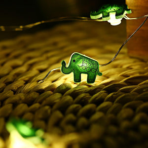 Elephant Shaped Cooper Wire String Light ( 2M 20 LEDs ) GREEN