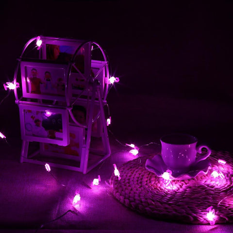 Purple Crane Shaped Cooper Wire String Light (2m 20 LEDs)-Decorative String Light-PINK-Khadiza Electricals